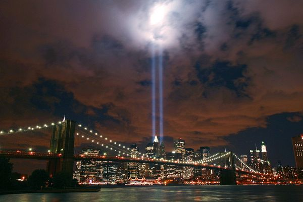 Lower Manhattan is framed by the Brooklyn Bridge as The Towers of Light